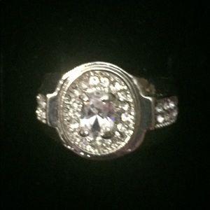 Other - 🐞Men's Silvertone Oval CZ Signet Graduation  Ring